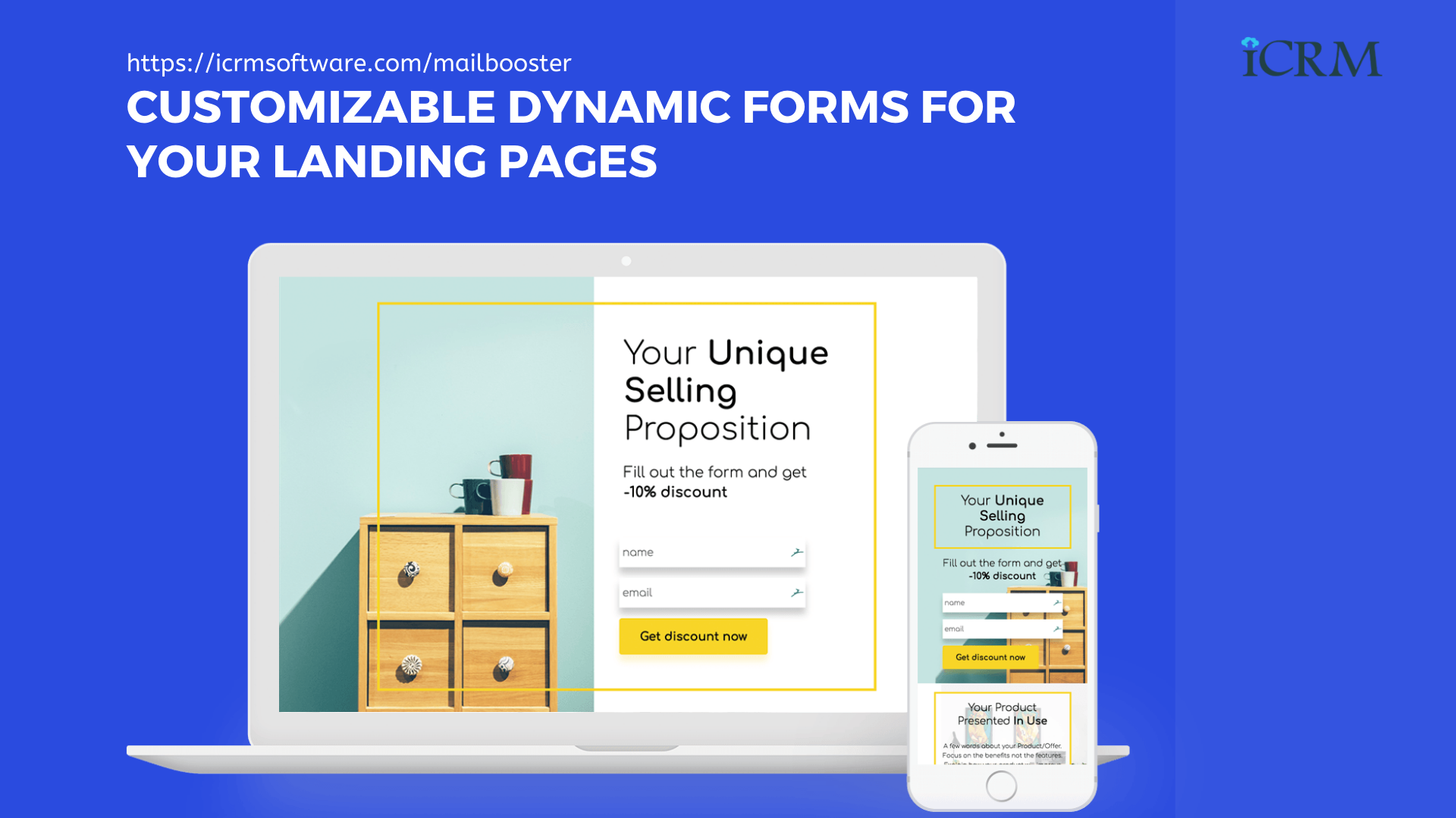 Customizable Dynamic forms for your landing pages. ICRM Mailbooster - AI-Based Email Marketing Application