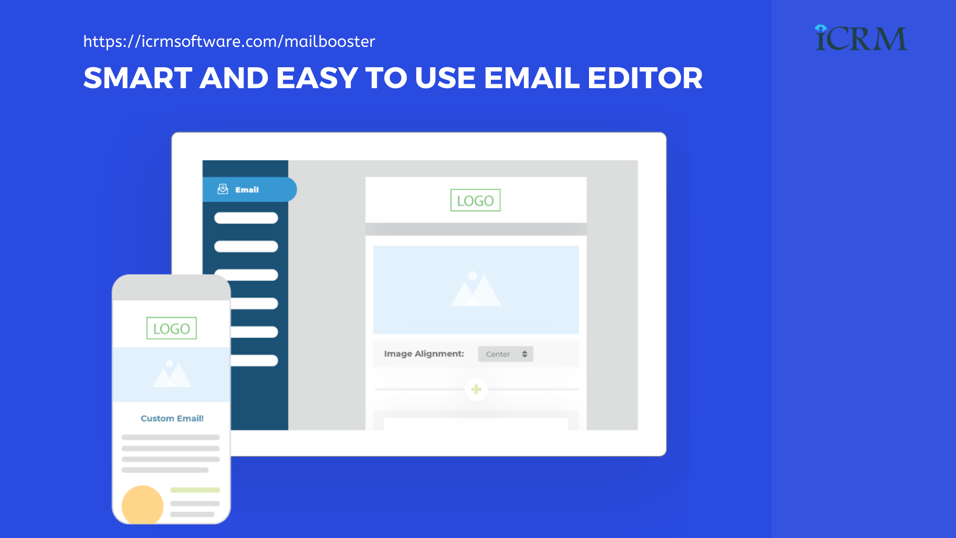 Smart and easy to use email template editor ICRM Mailbooster - AI-Based Email Marketing Application